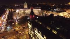 Beautiful night flight in the center of St. Petersburg Russia. Nevsky prospect Stock Footage
