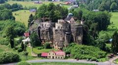Rock Castle Sloup, Czech republic Stock Footage