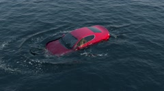 Red car falls and drowning in water Stock Footage
