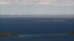 Lake Ontario With Canada And Distant Ottawa Stock Footage
