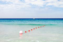 Tourists float on a sailing catamaran. Active sports leisure. Varadero sandy  Stock Photos