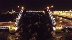 Helicopter flight around Swing bridge drawbridge in Saint –Petersburg Russia. Be Stock Footage
