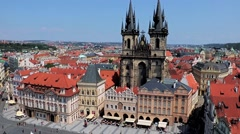 The Old Town Square with Tyn cathedral church , Prague, Czech Republic Stock Footage