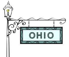 Ohio retro pointer lamppost Stock Illustration