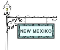 New Mexico retro pointer lamppost Stock Illustration