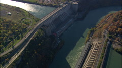 Hydroelectric Plants In Us And Canada Stock Footage