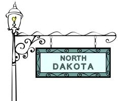 North Dakota retro pointer lamppost Stock Illustration