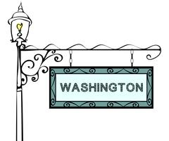 Washington retro pointer lamppost Stock Illustration