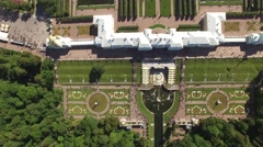Top aerial view of beautiful Peterhof palace and grand cascade. Sparkling Stock Footage