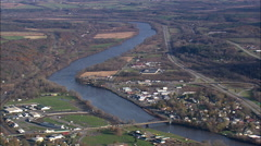 Mohawk River And Canal Near Fonda Stock Footage