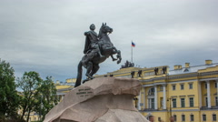 Monument of Russian emperor Peter the Great, known as The Bronze Horseman Stock Footage