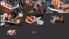 Collage of sliding typing white smart phone by female fingers black nail polish Stock Footage
