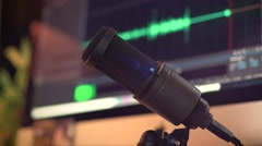 Microphone In Cool Studio Stock Footage