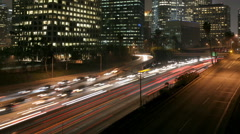 Los Angeles Night Traffic Time Lapse Stock Footage