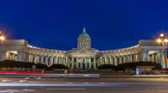 Kazan Cathedral Kazanskiy Kafedralniy Sobor in St. Petersburg during the White Stock Footage