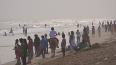Indian tourists on beach in backlit,Puri,India Stock Footage