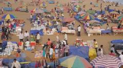 Souvenir stalls on beach,Puri,India Stock Footage
