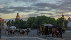 Two coaches for walks on the Palace Square timelapse in St. Petersburg Stock Footage
