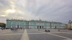 "Sight-seeing Winter palace of Russian kings now Art museum ""Hermitage"" timelapse Stock Footage"