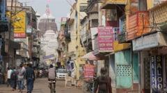 Busy road towards Jagannath temple,Puri,India Stock Footage