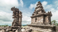 Ancient ruin Hindu temple Gedong Songo in central Java, Indonesia. 4K Timelapse Stock Footage