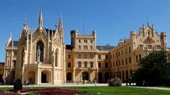 Castle Lednice, UNESCO world heritage at South Moravia Stock Footage
