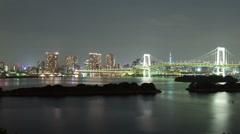 Night Time Lapse Tokyo Japan Rainbow Bridge Stock Footage