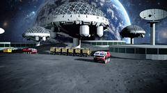 Futuristic city, town on moon. The space view of the planet earth. 3d renderi Stock Illustration