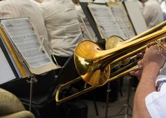 Musician plays the trumpet in the orchestra Stock Photos