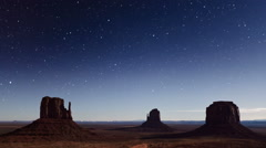 Monument Valley Stars Time Lapse Stock Footage