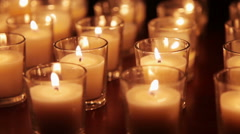 Votive Candles Background Stock Footage