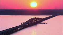 Sunset Over William B Umstead Bridge Stock Footage