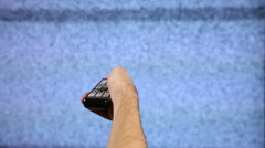 Watching Television Broken Static Stock Footage