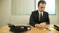 Businessman Goofing Off At Work Stock Footage