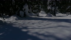 Shadow of the moon reflected on the snow, play of light and shadow Stock Footage