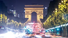 Paris - Arc de Triomphe Stock Footage
