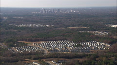 Approaching Raleigh Over Suburbs Stock Footage