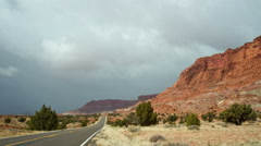 Cloudy Desert Road Time Lapse Stock Footage