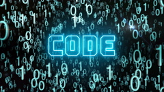 Bluish Code concept with digital code Stock Footage
