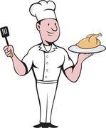 Chef Cook Roast Chicken Spatula Cartoon Stock Illustration