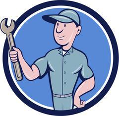 Handyman Holding Spanner Circle Cartoon - stock illustration