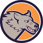 Grey Wolf Head Angry Circle Cartoon Piirros