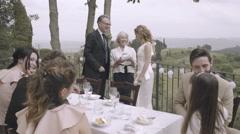 Parents congratulating bride Stock Footage