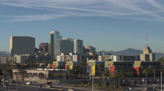 Pan across downtown Phoenix City buildings and architecture Stock Footage