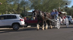 Downtown Scootdale Arizona Horse and Buggy Stock Footage