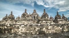 Stupas in Borobudur Temple, Central Java, Indonesia. 4K Timelapse - Java Stock Footage