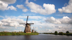 Windmill in the Netherlands Stock Footage