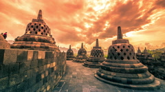 Dramatic and dynamic Sunset at Borobudur Temple of Indonesia. 4K Timelapse - Stock Footage