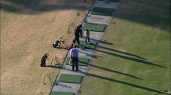 Driving Range And Chip Shot On Green Stock Footage