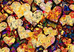 Patchwork style picture of many hearts Stock Illustration